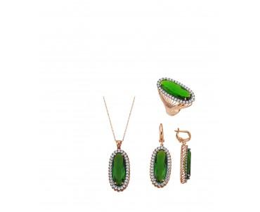 Yeşil Taşlı Gümüş Set