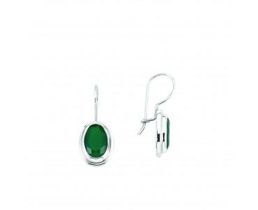 Yeşil Taşlı Gümüş Küpe